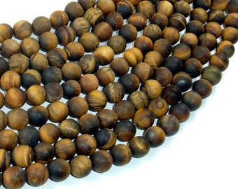 Matte Tiger Eye, 8mm (8.3mm) Round Beads , 15 Inch, Full strand, Approx 48 beads, Hole 1mm (426054029)