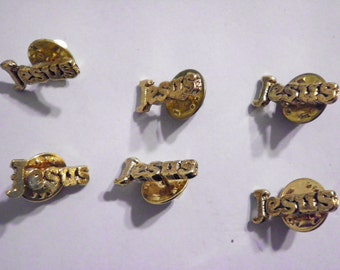 6 Vintage Goldplated Jesus Pin Brooches