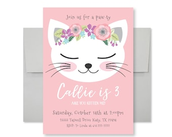 Cat Birthday Party Invitation, Kitten, Cat Birthday Girl Printable Invitation, Are you kitten me, Girl 3rd Birthday, Kitty Party