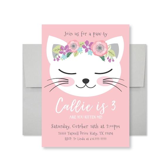 Cat birthday party invitation kitten cat birthday girl like this item stopboris Image collections