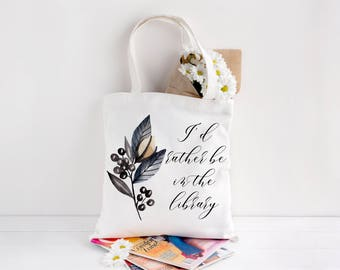 Personalised Book Bag, Tote Bag, Book Tote Bag, Floral Tote Bag, Personalised Bag, Book Bag, Gift For Her, Gift For Book Lover