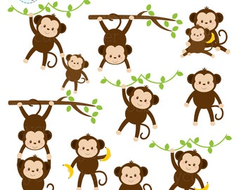 Monkeys Clipart Set - clip art set of cute monkeys, monkey, baby, safari, jungle - personal use, small commercial use, instant download