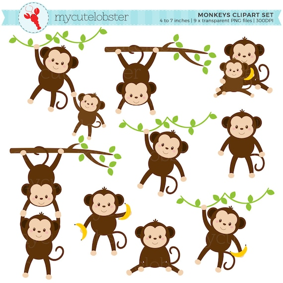 monkeys clipart set clip art set of cute monkeys monkey rh etsy com monkey clip art free monkey clipart library