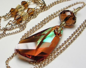 Swarovski Gossamer Wing of a Dragonfly Crystal Wing Asymmetrically Faceted Golden Brown Shade Pendant Swarovski Crystal  Gift for Her