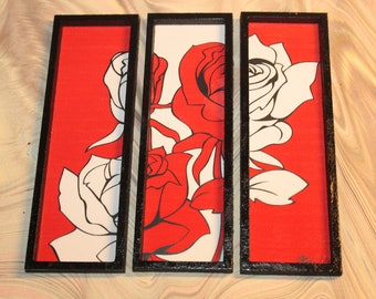 Modern miniature dollhouse tryptic painting 1/12, Red roses
