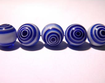 6 beads - millefiori glass - 10 mm eye of cyclone flower - blue royal F99 3