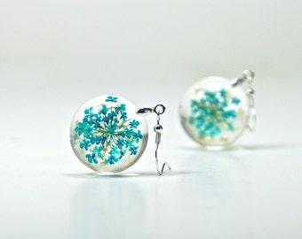 Real Flower Resin Earrings, Resin Real Flower Earrings, Pressed Flower Earrings, Pressed Flower Jewelry, Dried Flower Earrings Resin Jewelry