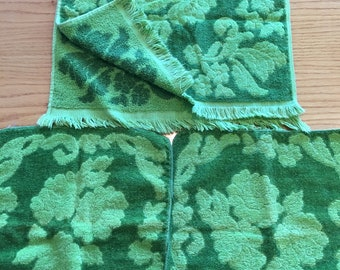 Vintage Monticello for Cannon Bright Avocado Green Rose Hand Towel and Two Washcloths -rose hand towel, green rose towel, vintage hand towel