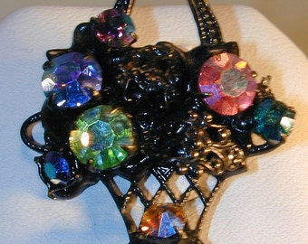Vintage Japanned Black Basket Brooch w/ Colored Rhinestones