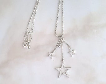 Wicca Necklace, Floating Pave Stars Pendant, Ball Chain Necklace, Hand Made in America