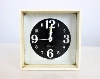 Clearance: Vintage 1960s Elgin Alarm Clock / White Atomic Age Cube Wind Up Clock / Mid Century Made in West Germany / Glow In The Dark Hands