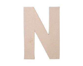 12 INCH Paper Mache Letter N - Cardboard Letters - Craft Supplies