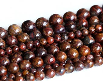 """AAA High Quality Natural Genuine Brown Pietersite Stone Round Loose Gemstone Stone Beads 4mm 6mm 8mm 10mm 12mm 15.5"""" 05232"""