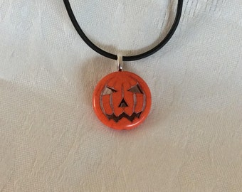 FREE SHIPPING, Halloween Pumpkin Pendant Necklace Black Cord
