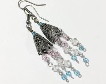 Boho Cone Earrings with Crystal Dangles - Free Domestic Shipping