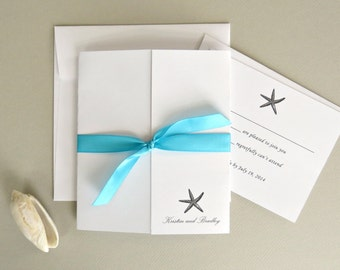 Starfish Beach Wedding Invitation and Response Card Set