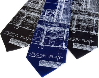 Blueprint Necktie, Architect gift. Detroit's Cass Tech mens silk tie. Architecture design, builder gift, city planner gift, engineer gift.