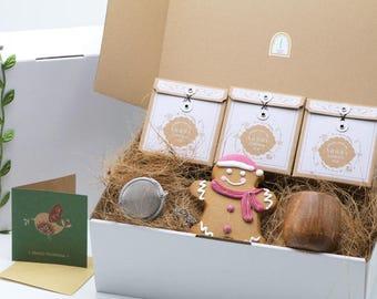 Tea Gift Set, Christmas gift for tea lovers, Organic tea gift box, loose leaf tea gift hamper, high tea gift set, corporate gift pack