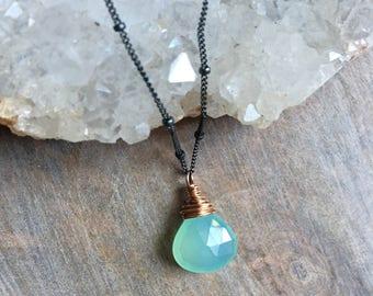 Aqua Chalcedony Necklace, Blue Chalcedony Gemstone Pendant, Rose Gold Fill Jewelry, Mixed Metal Jewelry, Minimal Jewelry, Under 50