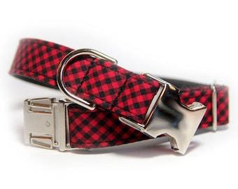 Buffalo Plaid Dog Collar, Red and Black Mini Check, Mini Buffalo Check, Personalized Buffalo Mini Plaid Collar