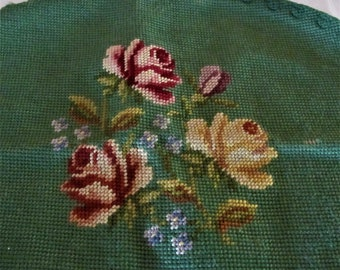 Needlepoint green floral roses oval vintage