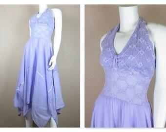 Jahrgang 1970 Sommerkleid / Halfter / Strand-Cover Up / Größe kleine S / Lavendel lila / Resort Mode / Taschentuch Saum / Baumwolle Gaze