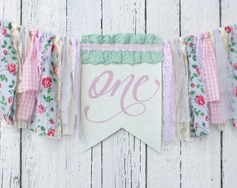 Spring First birthday banner Garden party theme 1st birthday highchair bunting Floral Cake smash decoration One year old girl birthday party