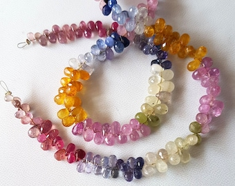 Brand new amazing Natural MULTI SAPPHIRE micro faceted drops shaped briolettes, 2x4 mm --  3x6 mm ,15 inch strand [E3604]