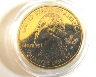 Coin Bezel Jewelry Finding 24k Gold PLATED U.S. Quarters for Jewelry Creation, Pendant, Charm  Brilliant Sheen