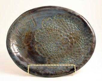 Handmade Stoneware Blue Lace Oval Platter