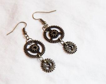 Steampunk Miniature Gear Earrings- Brass, Silver, and Copper