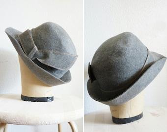 1950s/1960s Leslie wool hat | vintage gray wool hat | 1950s wool hat