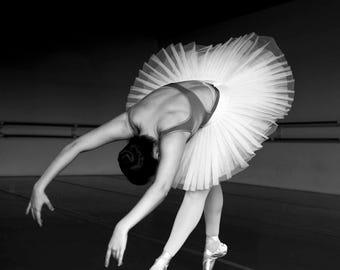 Reach Study no. 2, black and white photograph, ballerina en pointe