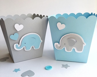 Blue Gray Elephant Favor Boxes Boy Baby Shower Decorations Elephant 1 st Birthday Decor Popcorn Paper Party Blue Gray Containers