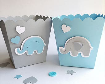 Blue Gray Elephant Favor Boxes Boy Baby Shower Decorations ...