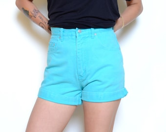 Vintage 80's Electric Blue Denim High Waisted Shorts Sz 29W
