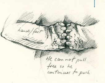 "Original Drawing 'Bears Feet' from 'Sabine's Notebook' approx 4"" X 3"""