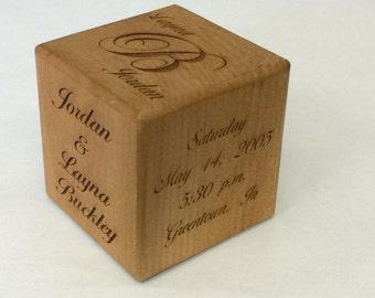Wedding Keepsake Block, Keepsake Wedding Gift, Anniversary Block, Anniversary Gift, Gift for Couple, Personalized Blocks, Wood Block