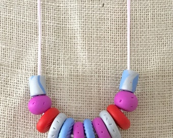 Pink, blue and grey handmade polymer clay vegan necklace on 60cm polyester cord with breakaway clasp