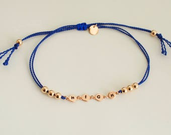 HIGH silk cord bracelet - adjustable  bracelet  - disc bracelet - silk pot bracelet - mini leaf bracelet- rose gold - gold - silver