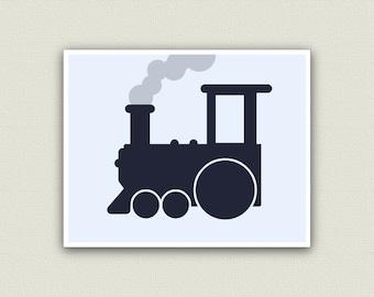 Train Nursery Train Decor Train Art Kids Playroom Print in your choice of Dark Blue, Red, or Blue
