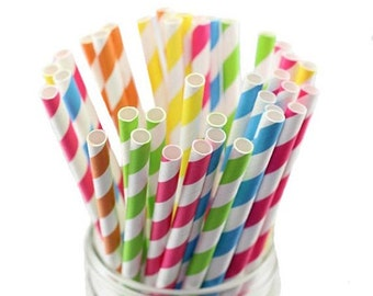 Paper Straws - stripy (Free UK P&P)