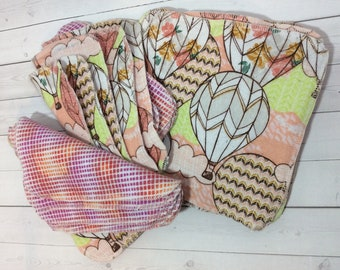 Hot Air Balloons - Flannel Wipes - Cloth diaper wipes - Reusable baby wipes- Family Cloth