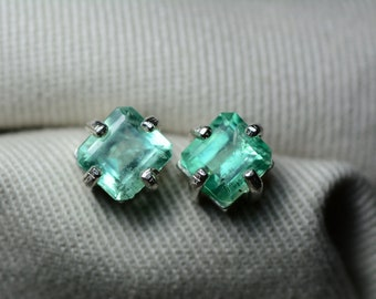 Emerald Earrings, Colombian Emerald Stud Earrings 2.20 Carats, Appraised at 2,000.00 Sterling Silver,Real Natural Green, May Birthstone, Cut