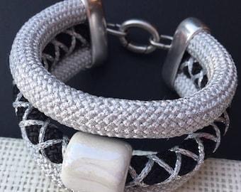 Climbing cord bracelet, black and silver glitter. Handmade