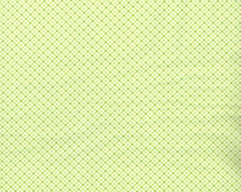 1 Yard 11 inches, White and Green Gingham Flannel