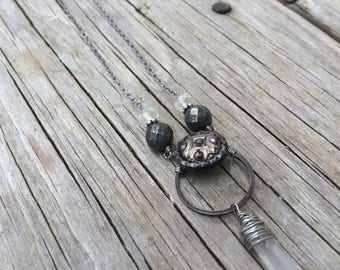 Victorian Steel Cut and Brass Button Necklace with Quartz Crystal and Pyrite