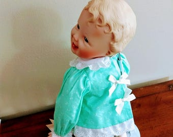 Collectable Bisque Baby Doll/Baby Doll by Yolanta Bello/Porcelaine Smileing Baby Doll/Baby Doll with Painted Face/No.135