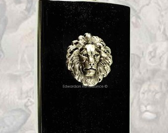 Steampunk Antique Silver Lion Head Flask Inlaid in Hand Painted Metallic Black Enamel Leo Metal 8oz Flask with Personalized and Color Option
