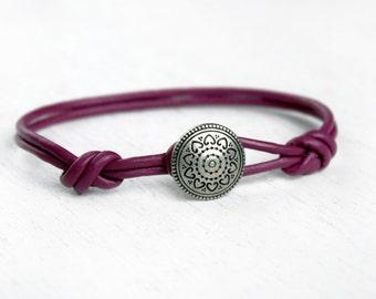 Heart to Heart Leather Bracelet, Heart Bracelet (Many Colors)